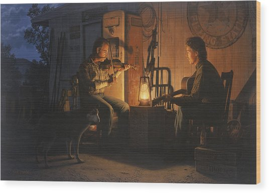 Moonlight Musicians Wood Print