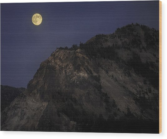 Moonlight On The Crater Rim Wood Print