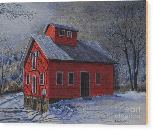 Moonlight On The Mill Wood Print