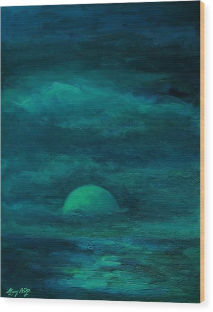 Moonlight On The Water Wood Print