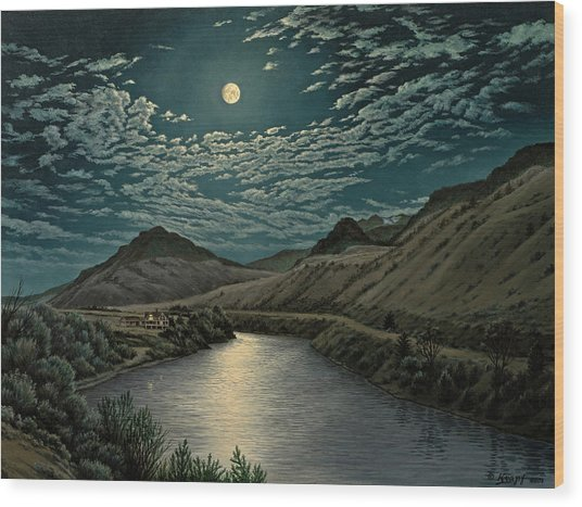 Moonlight On The Yellowstone Wood Print