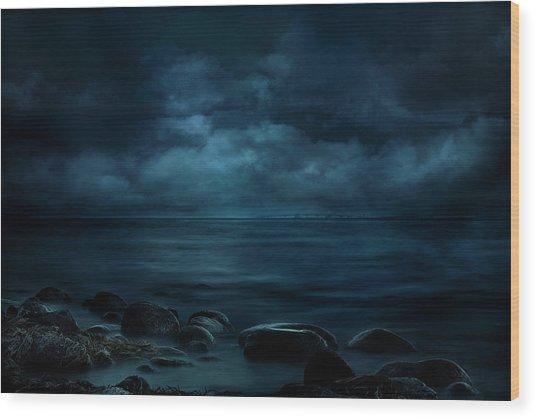 Moonlight Over Distant Shores Wood Print
