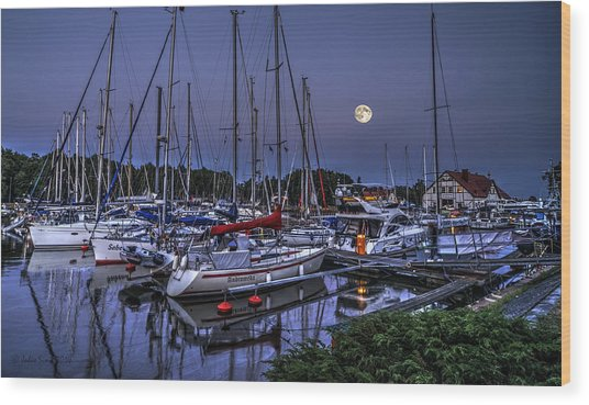 Moonlight Over Yacht Marina In Leba In Poland Wood Print