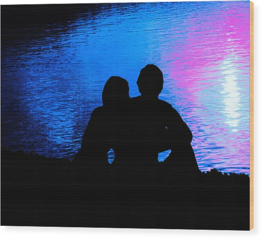 Moonlight Romance Wood Print