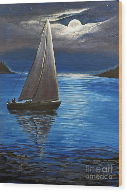 Moonlight Sailing Wood Print