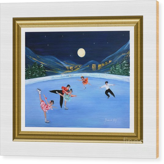 Moonlight Skating. Inspirations Collection. Card Wood Print