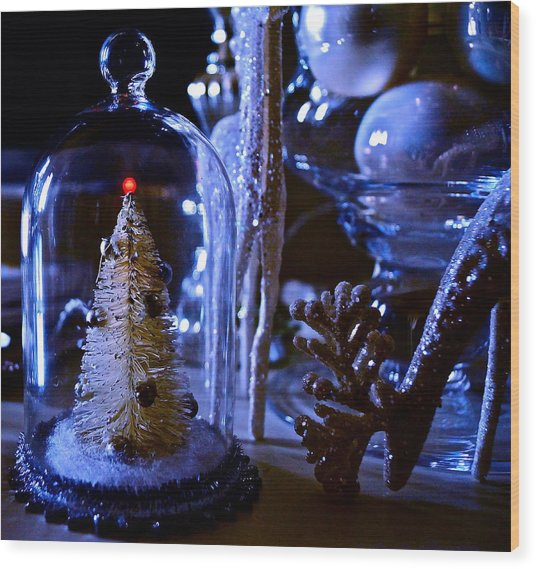 Moonlight Tree - Christmas Wood Print