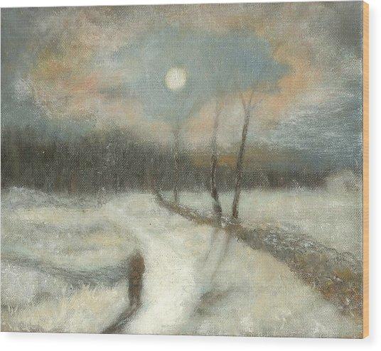 Moonlight Walk Home Wood Print