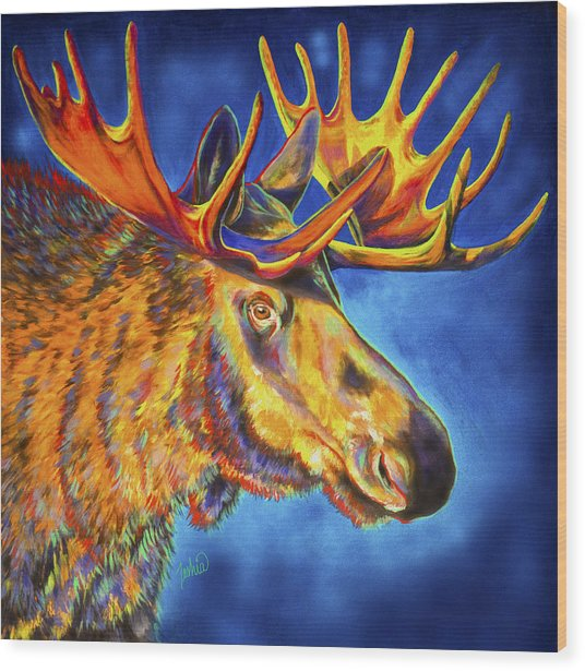 Moose Blues Wood Print