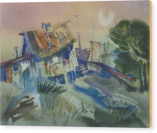 Moonlit Beach Shack Wood Print
