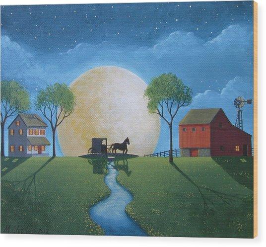 Moonlit Buggy Ride Wood Print