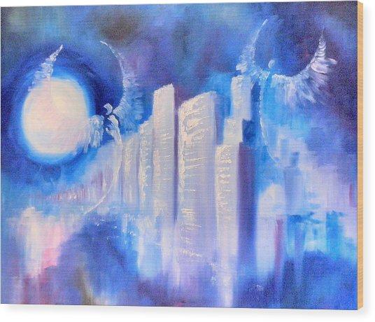 Moonlit City Blue Wood Print