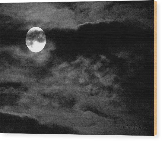 Moonlit Clouds Wood Print