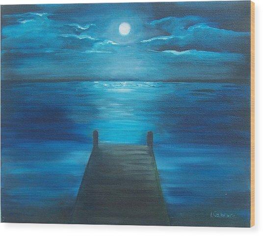 Moonlit Dock Wood Print