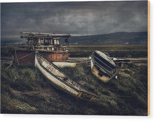 Moonlit Estuary Wood Print