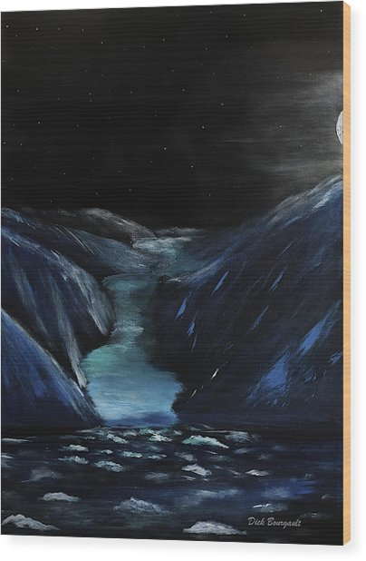 Moonlit Glacier Wood Print