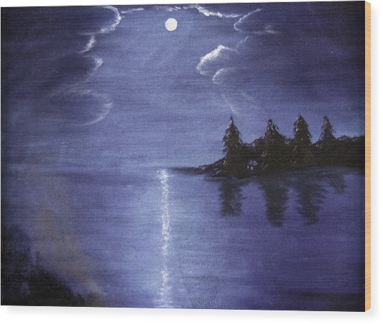 Moonlit Lake Wood Print
