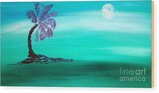 Moonlit Palm Wood Print