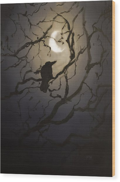 Moonlit Perch Wood Print