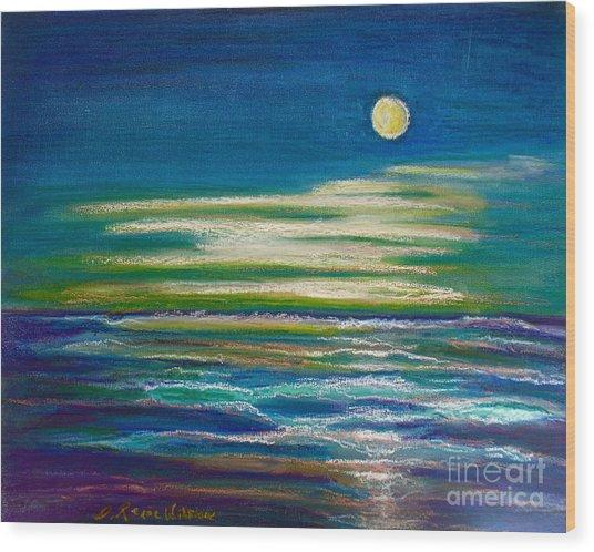 Moonlit Tide Wood Print