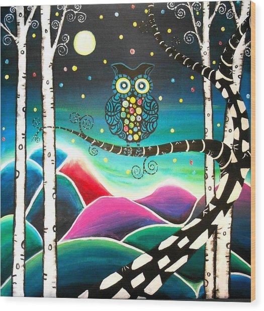 Moonlit View Wood Print