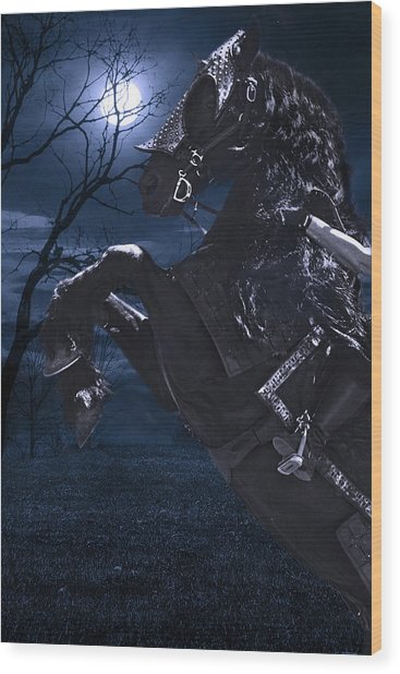 Moonlit Warrior Wood Print