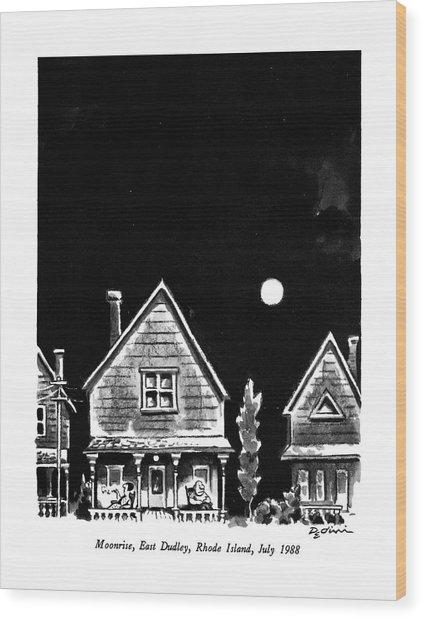 Moonrise, East Dudley, Rhode Island, July 1988 Wood Print