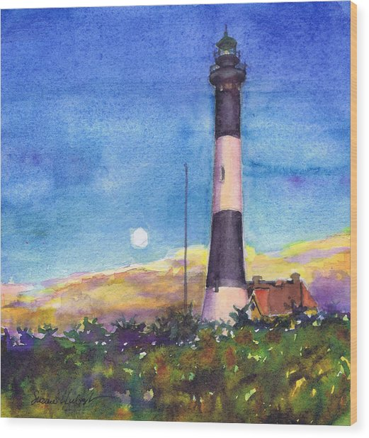 Moonrise Fire Island Lighthouse Wood Print