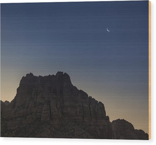 Moonrise Near Zion Wood Print