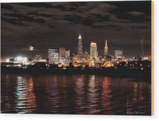 Moonrise Over Cleveland Skyline Wood Print