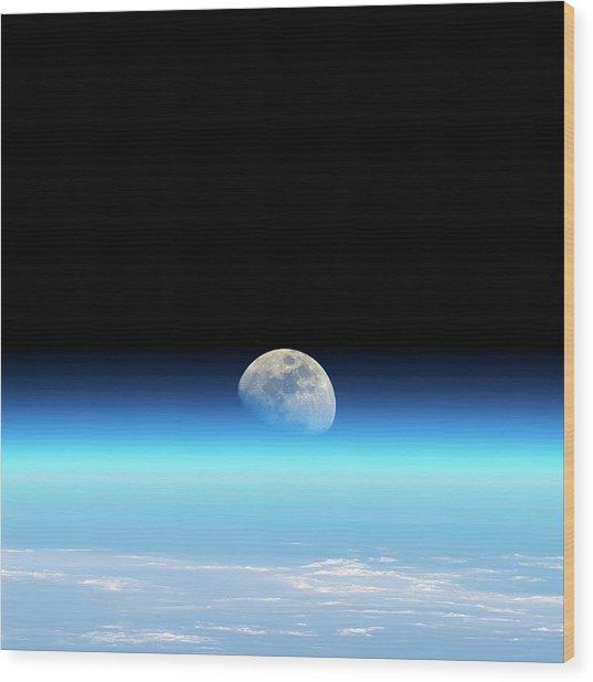 Moonrise Over Earth Wood Print