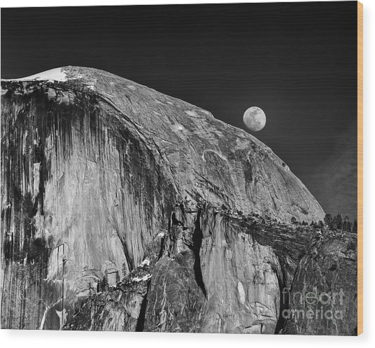 Moonrise Over Half Dome Wood Print