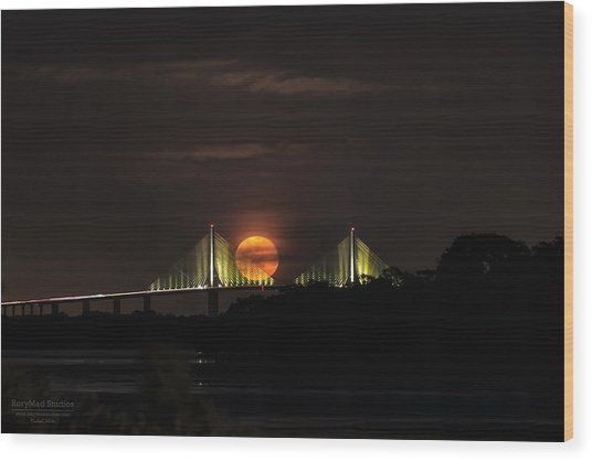 Moonrise Over The Skyway Bridge Wood Print