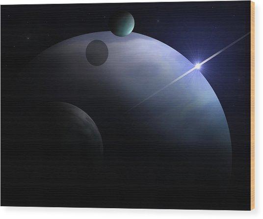 Moons Of Neptune Wood Print by Ricky Haug