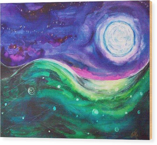 Moonscape Wood Print by Christy Freeman Stark