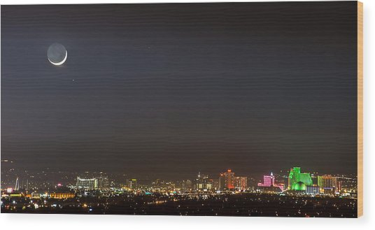 Reno Downtown New Years Moonset Pano Wood Print