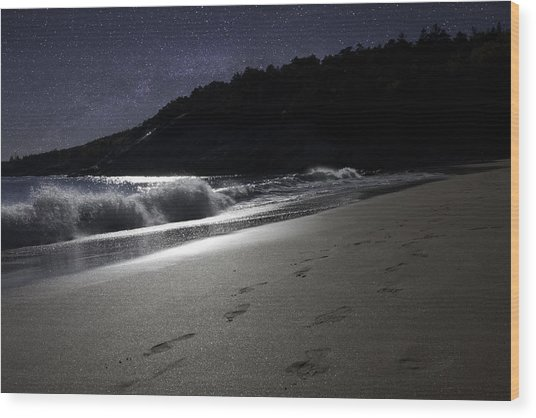 Moonshine Beach Wood Print