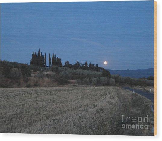 Moonshine In Arezzo Wood Print