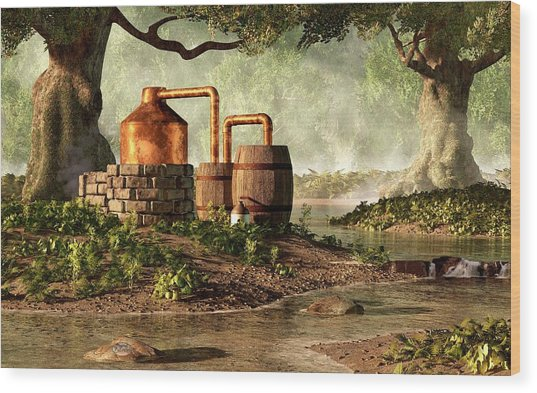 Moonshine Still 1 Wood Print