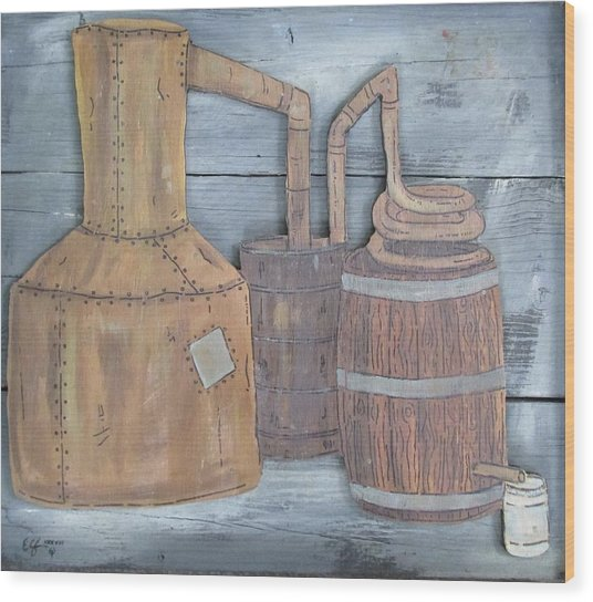 Moonshine Still Wood Print