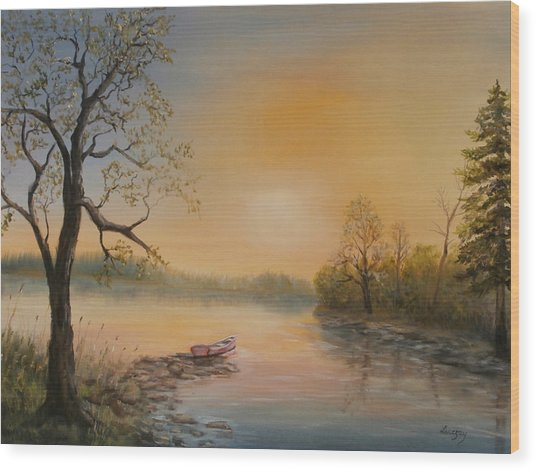 Moored At Sunset Wood Print