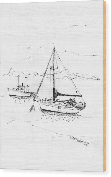 Moored Boats Monhegan Island Wood Print