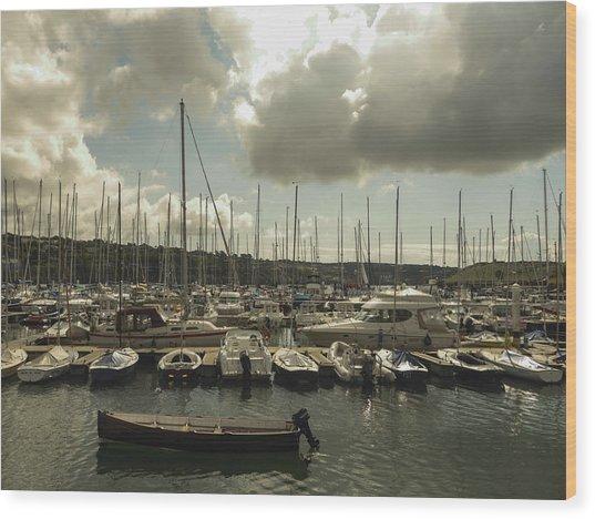 Moored Boats Wood Print