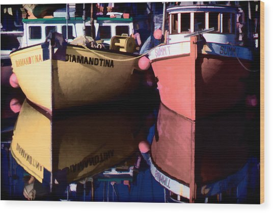 Moored Fishing Boats Wood Print