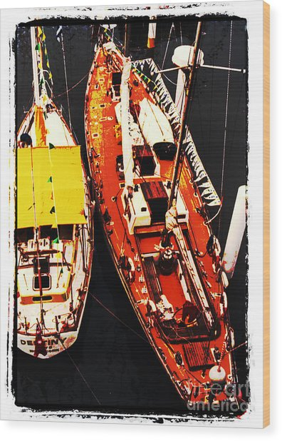 Moored Yachts Wood Print