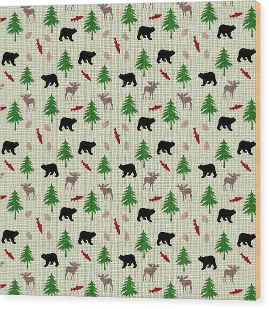 Moose And Bear Pattern Wood Print