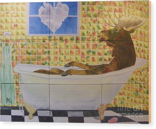 Moose Bath II Wood Print