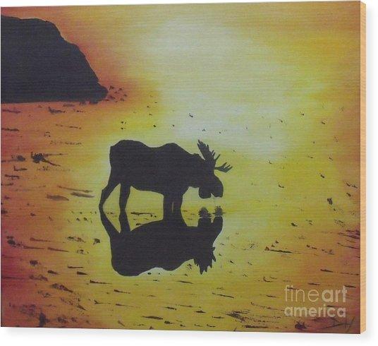 Moose In The Sunset Wood Print by Debra Piro