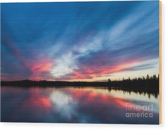 Moose Lake Sunset Wood Print