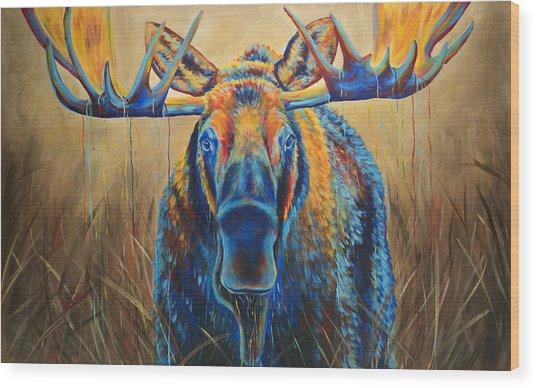 Moose Marsh Wood Print by Teshia Art